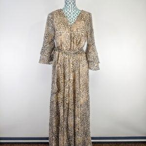 Une ame leopard print long maxi dress